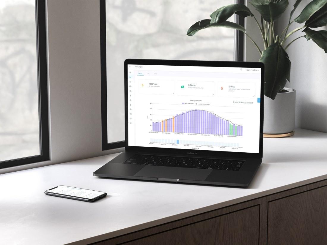 Mockup of energy management software on MacBook