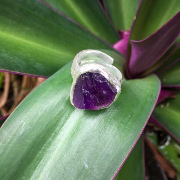Amethyst ring raw cut