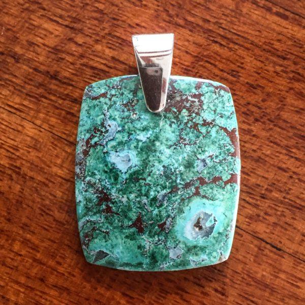rectangle chrysocolla pendant