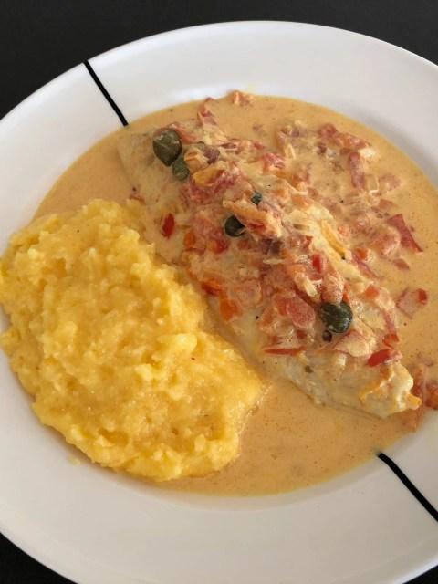 Pangasius fillet in tomato-saffron sauce