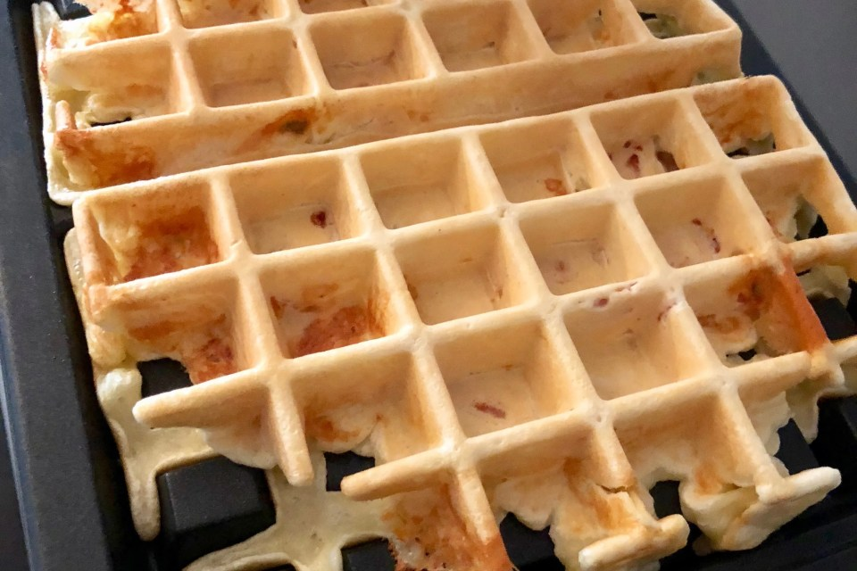 Belgian blue cheese bacon waffles