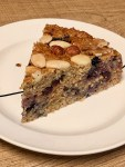 healthy breakfast cake with fruits, nuts and oatmeal