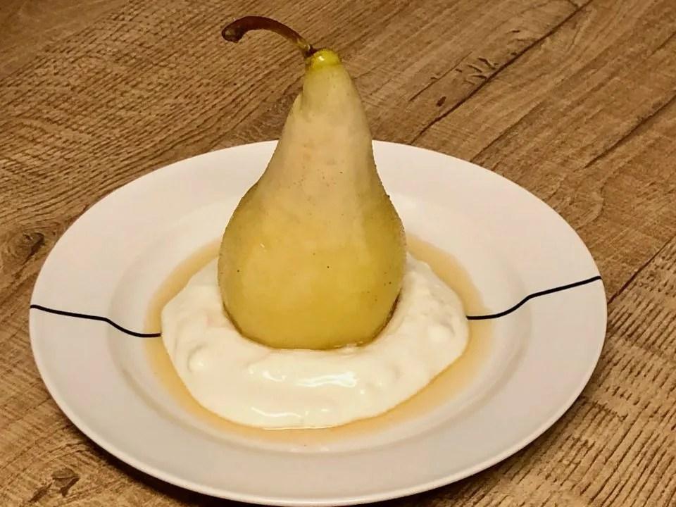 Chardonnay poached Christmas pears