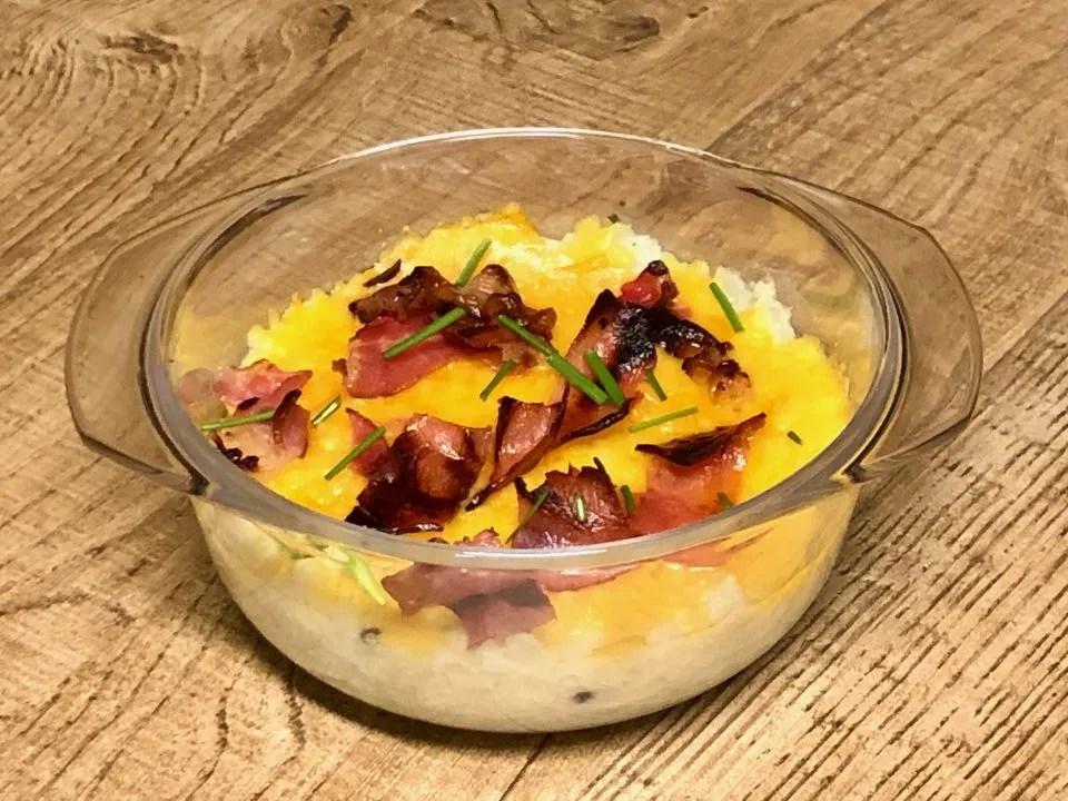 white-orange mashed cauliflower gratin