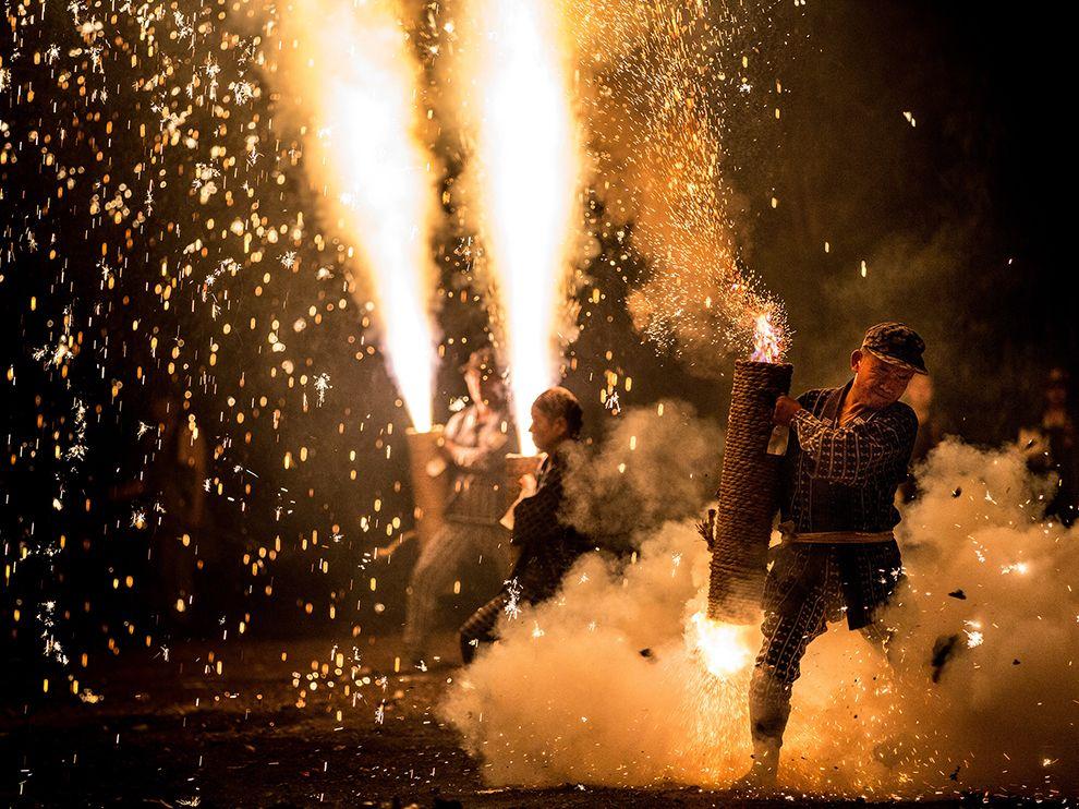 Fireworks festival by Gion Matsuri.