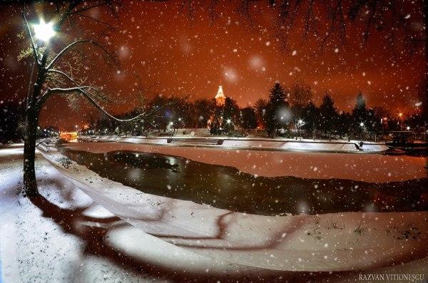 Primii fulgi de nea in Timisoara