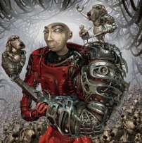 Scifi figure biomechanical machine man with dogs