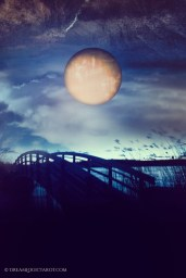Moon at night over bridge tarot card