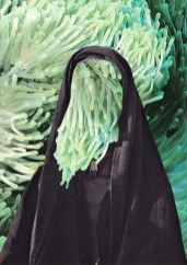 Sea anemone behind a cloaked figure and protruding hole in the cloaks face