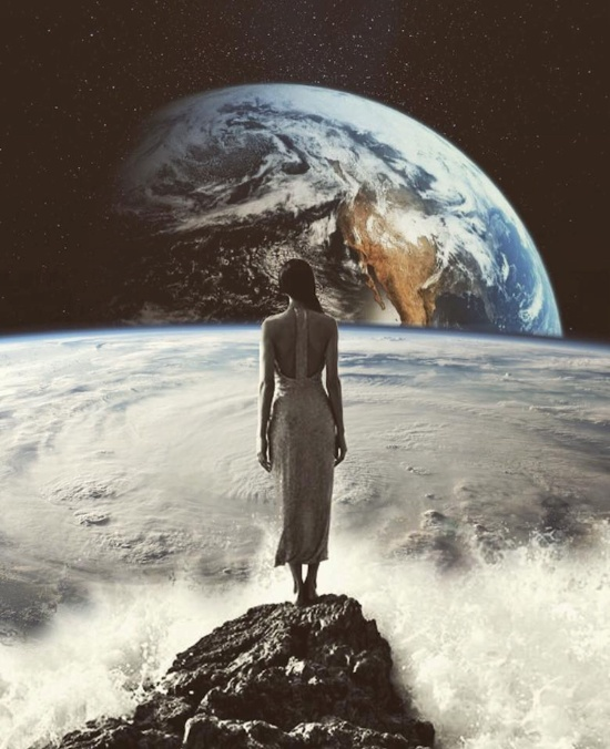 woman on waves looking at Earth in Space