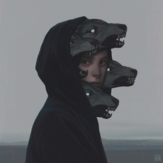 boy with wolve heads emerging from his hoodie