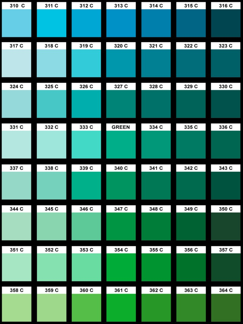 Pantone Color Chart Blue Green Coloringsite