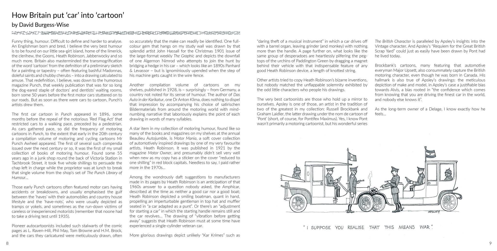 Sample Page | How Britain put 'car' into 'cartoon by David Burgess-Wise | Aplsey and Old Cars