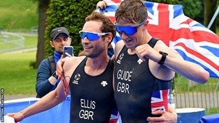 Dave Ellis and guide Luke Pollard celebrate another win
