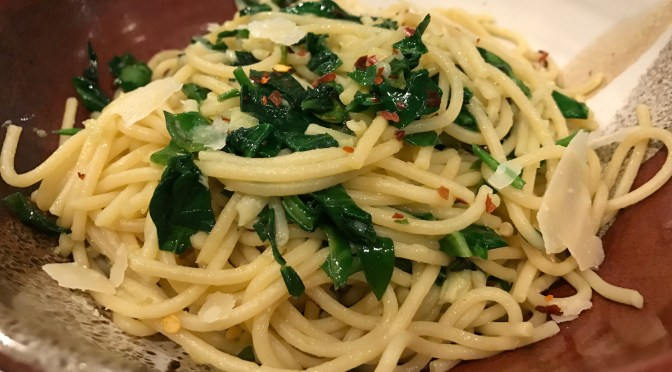 Garlic Pasta with Baby Spinach