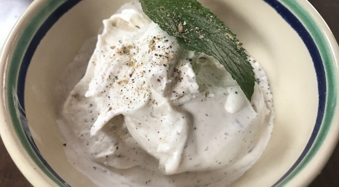 Toasted Almond Cardamom Ice cream with Mint and Almond Liqueur