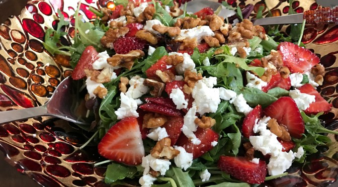 Arugula and Strawberry Salad with Candied Walnuts and Goat Cheese