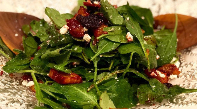 Roasted Beets and Baby Spinach Salad