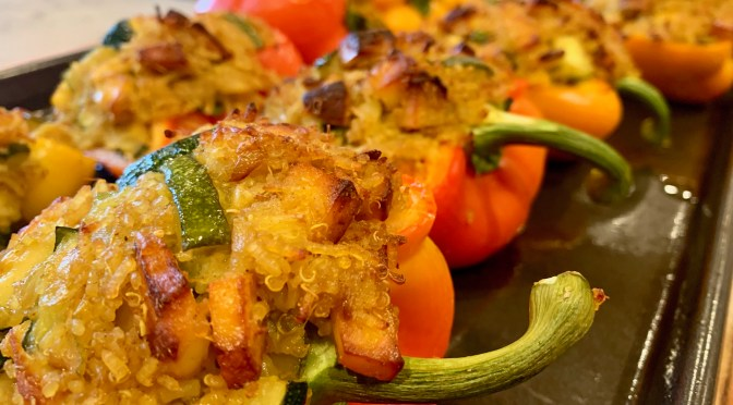 Stuffed Peppers with Spiced Rice, Paneer and Zucchini
