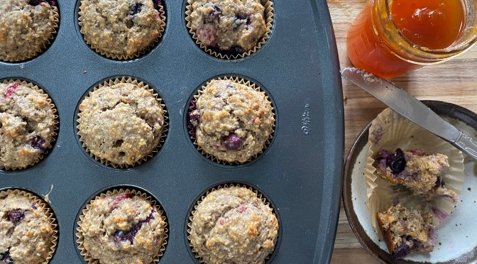 Blueberry Raspberry Bran Muffins