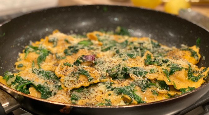 Ravioli with Wilted Spinach