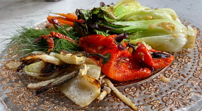 Sesame Garlic Roasted Veggies