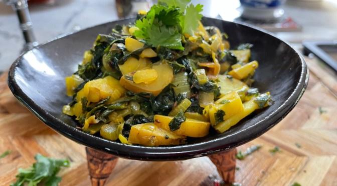 Turmeric Spiced kale and Swiss Chard Potato Stir Fry