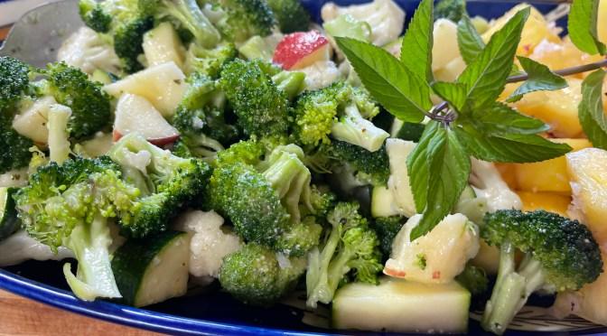 Cauliflower Broccoli Apple Salad With Garlic Parmesan Italian Vinaigrette
