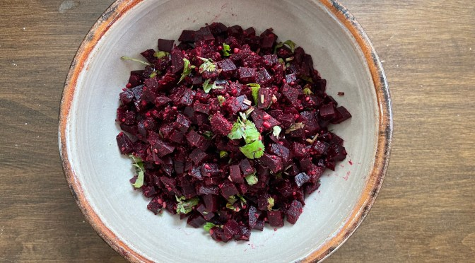 Beets Poriyal. Beets Saute with Toasted Sesame Seeds and Lentils