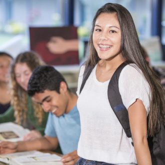 High school students learning in school