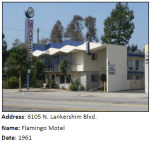 Mid-Century Modern motels like this one sprung up for travelers who took Lankershim to Route 99 (the LA area predecessor to the Golden State Freeway).