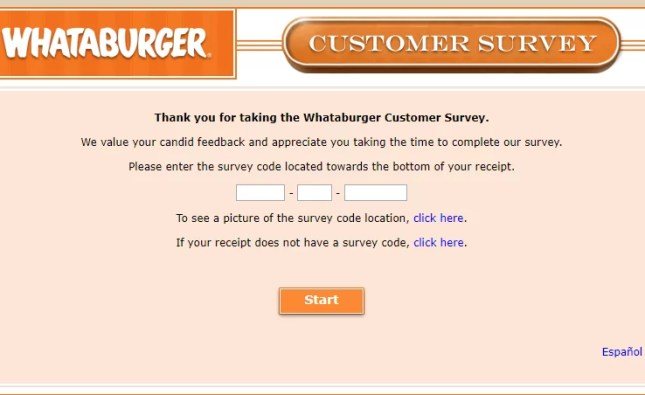 Whataburger Customer Survey Welcome