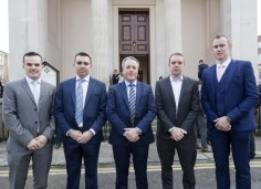 At the Society of Chartered Surveyors Ireland graduation ceremony on 7th April were from left Mark Potter, Darren McGwynne, Colin Bray, Senior Vice President S.C.S.I., Damien Conefrey and David Collum