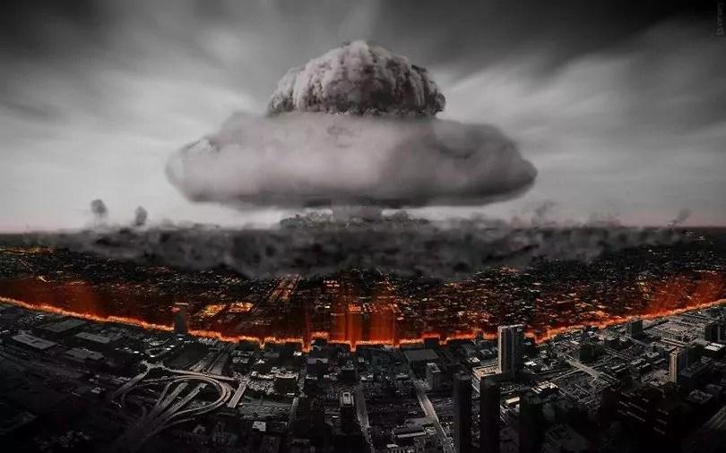 Mushroom cloud of nuclear bomb