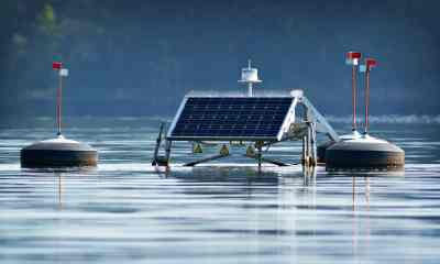 Solar powered water aeration equipment floating in Jordan Lake | Water Purification System The Solar Water Disinfection (SODIS) | Featured