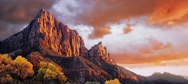 Sunset at Zion National Park in Utah.