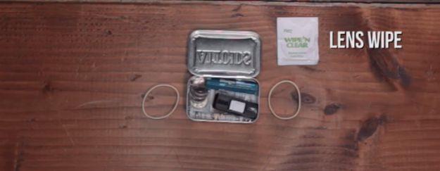 Pre-moistened lens wipe | Make Your Own Altoids Urban Survival Kit