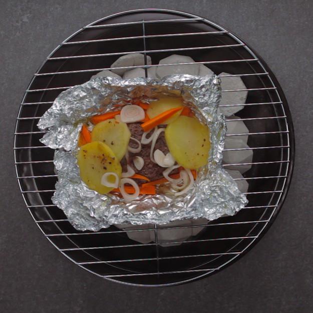 Survival Meal Beef, Carrot Potato Bundles Grill