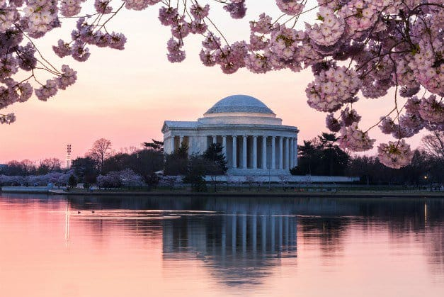 Jefferson Memorial at dawn in Washington D.C. | Best Campgrounds In The U.S.