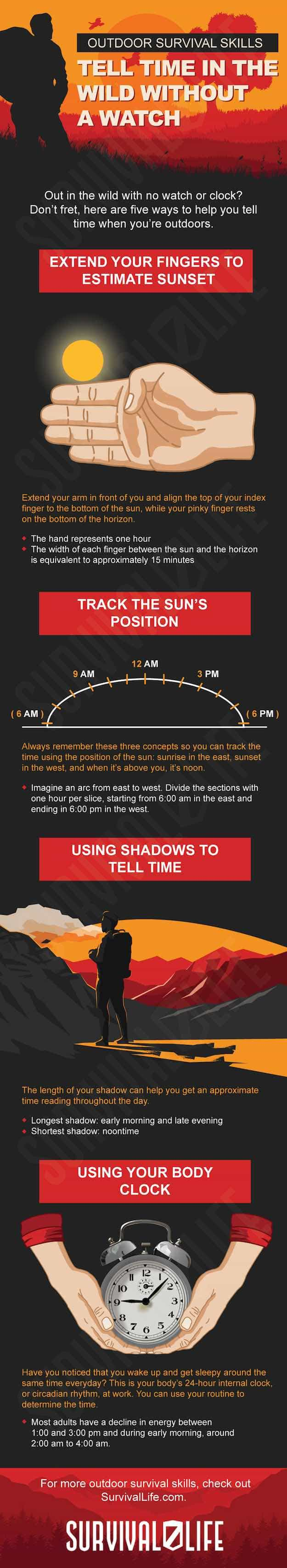 Infographic | Outdoor Survival Skills | Tell Time In The Wild Without A Watch