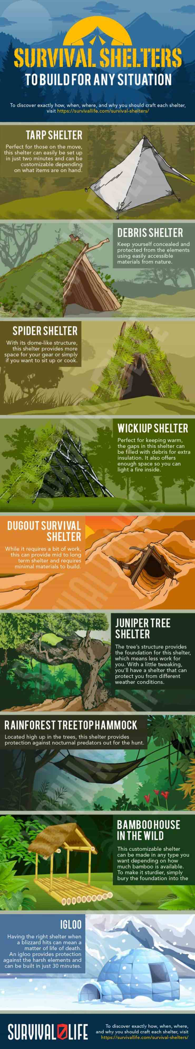 Infographic | How To Build DIY Survival Shelters To Survive Through The Night