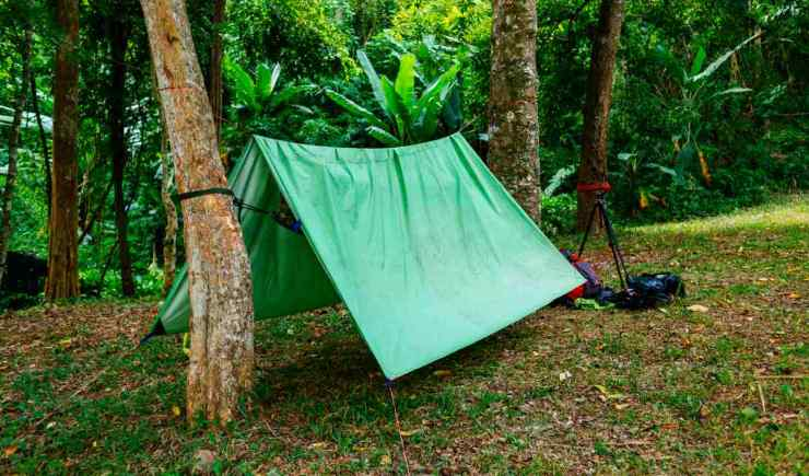 "Green camping tent in green forest | ""Quick Up"" Survival Shelters You Can Build With A Tarp"