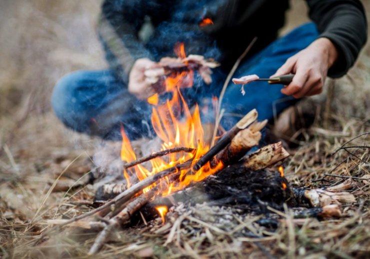 meat on stick grilled fire bushcraft   bushcraft skills