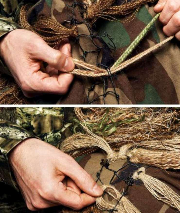 Tie in the Burlap | how to make a ghillie suit dayz