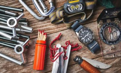 Overhead view of camping gear | Why Preppers Need A Personal Alarm | Featured