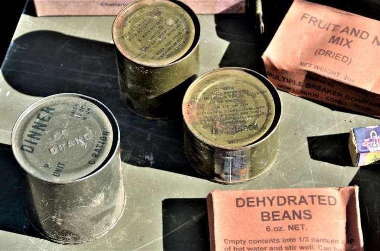 Display of old Vietnam era military C ration meals that the troops ate while in the field - DIY MREs