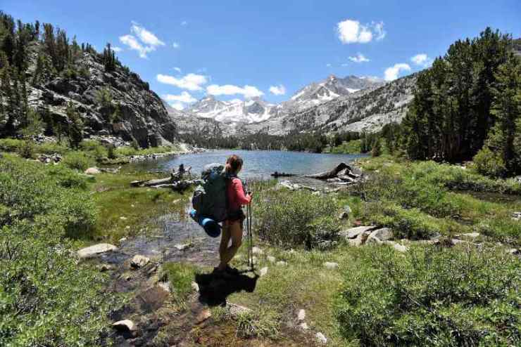 Enjoying the View at Long Lake in Little Lakes Valley, John Muir Wilderness, California-best hiking trails