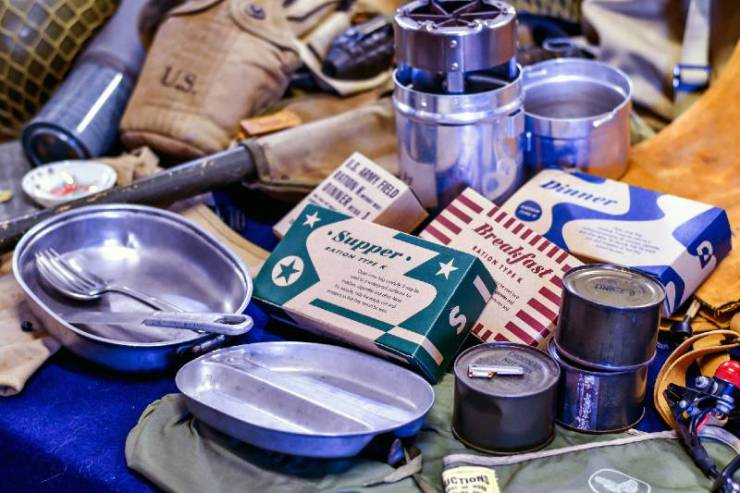 display of vintage MRE rations, (meals ready to eat) mess kit-DIY MREs
