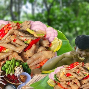 Survival Food By Cooking Chicken Feet Pickle & Eating Delicious In Forest-Cooking Of Survival