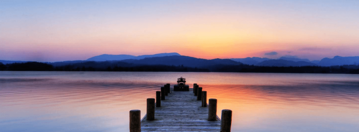 Dock on Lake at Sunset Photo